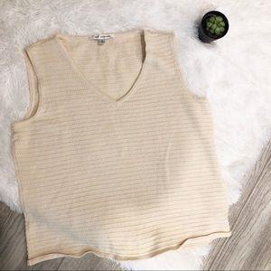 St. John Cream Knit Stretchy Tank Top Size M